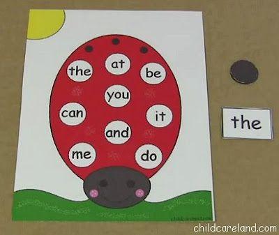 childcareland blog: Ladybug Sight Word Cover-Up