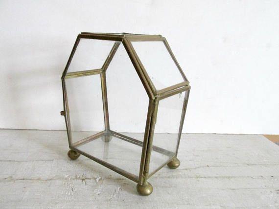 Glass Display Case Brass Tone Glass Box Six Sided Curio