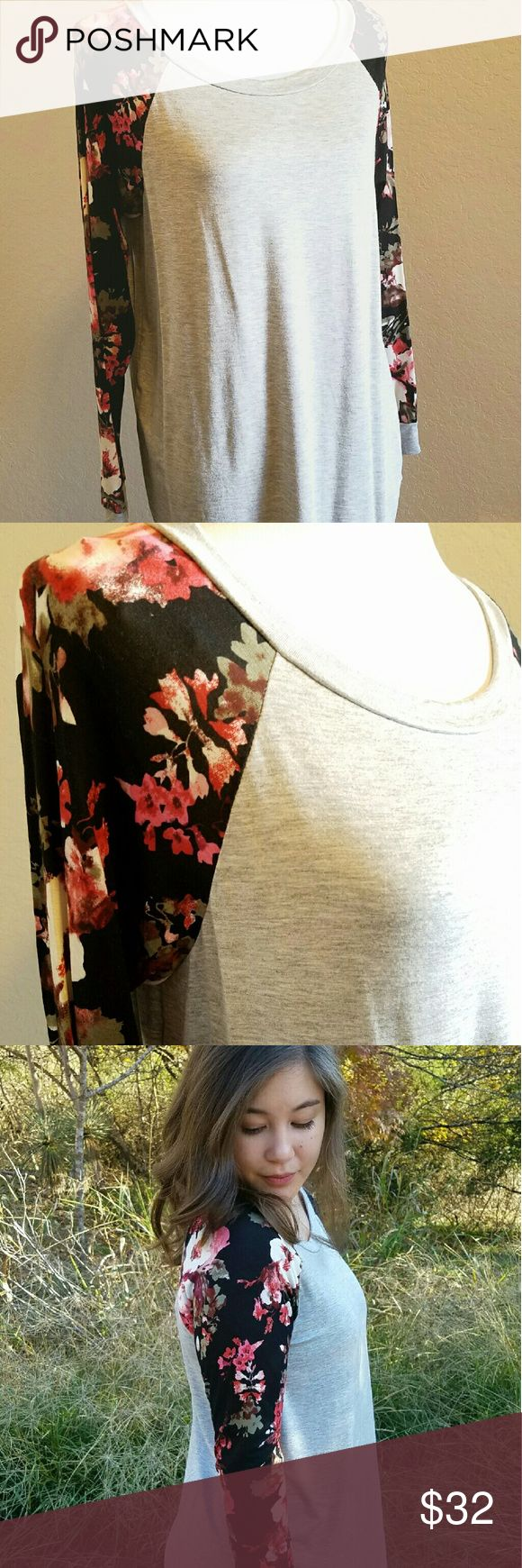 Floral long sleeve top, gray Casual and chic long sleep top, with floral arrangements down the arms. Stretchy, and soft. Tops Tees - Long Sleeve