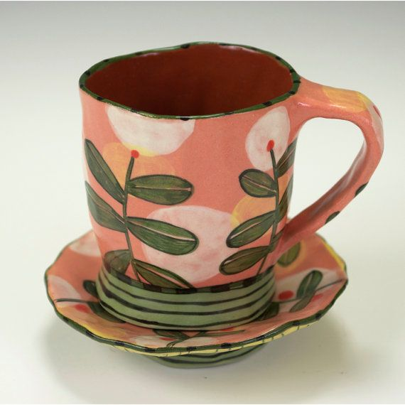 Espresso Cup and Saucer Set Salmon with Hovering by nancyandburt