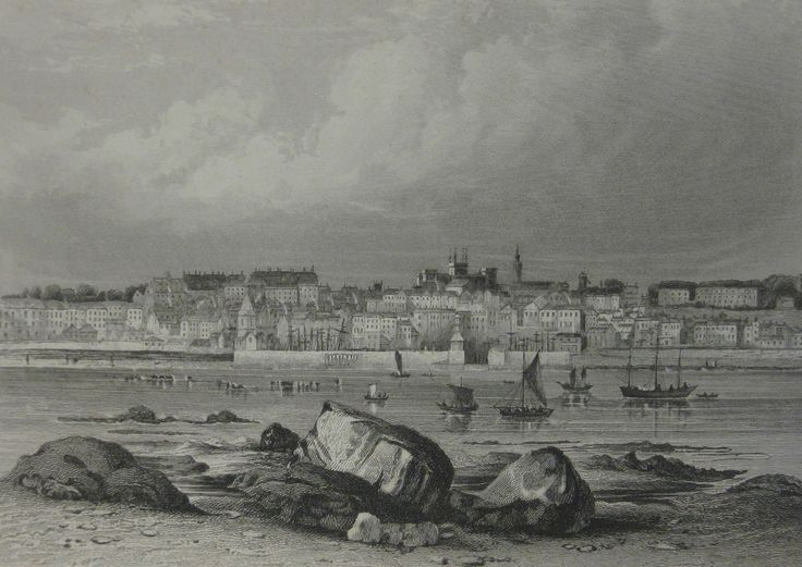 St. Peter Port from Castle Cornet, 1840. Drawn by Robert Mudie.