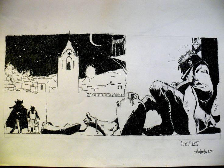 Leccion de dibujo de mi primo, amigo y maestro Antonio Almazán realizado en tinta china.