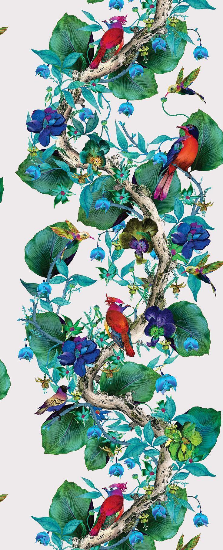Osborne & Little Rain Forest Emerald / Ruby Wallpaper extra image