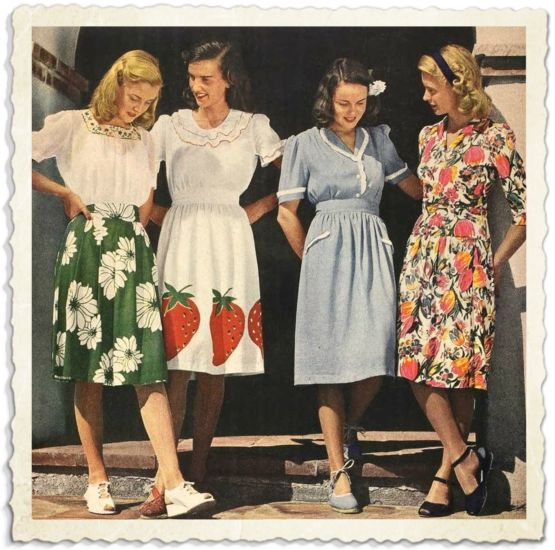 Les imprim s des ann es 40 la fin de la guerre sont color s et originaux jupe verte tr s - Style annee 40 ...