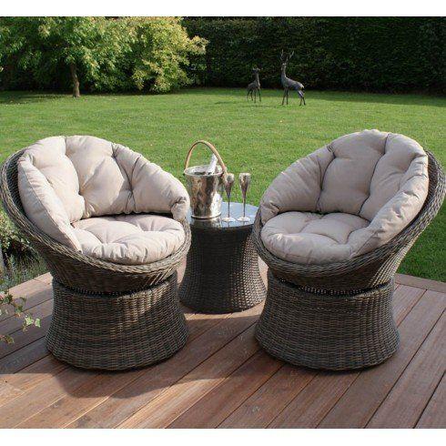dorset rattan garden furniture 3 piece swivel longue set