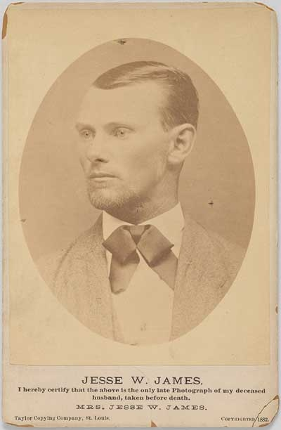 Jesse James 1847–1882  Unidentified photographer   Albumen silver print, 1882 - This portrait of Jesse James was marketed to audiences not long after the famous outlaw was killed in 1882 at the age of thirty-four. Given James's elusiveness, his wife provided confirmation that it was he who was pictured in this photograph.