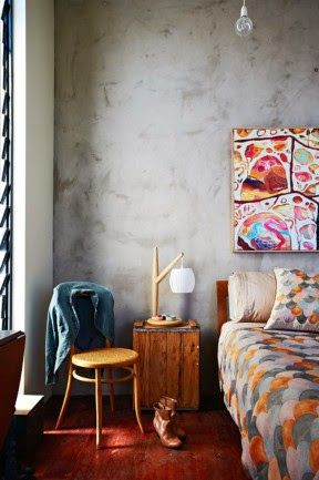 Feature Friday - Nina Proudman's Offspring Apartment - rendered wall in bedroom