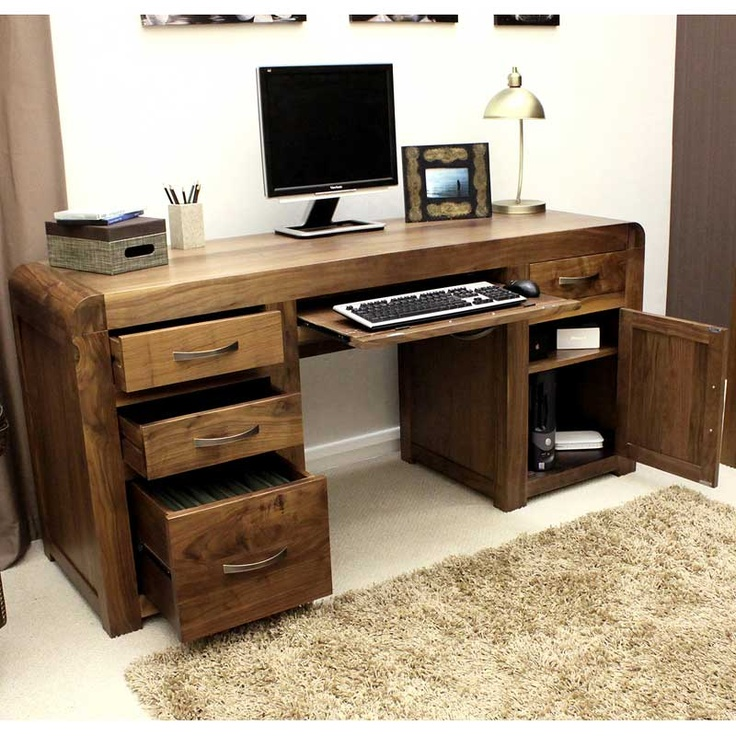 Wonderful Shiro Real Wood Natural Walnut Desk, all mine when those lottery numbers come up!