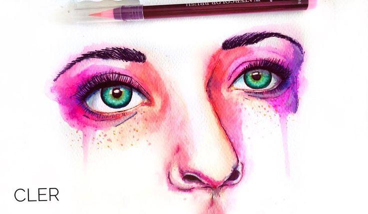 Pintando con mis nuevos marcadores acuarelables de @apurocolormedellin  @clerilustracion   .  .  .  .  #watercolor #watercolormarkers #watercolorpainting #eyes #clerilustracion #art #painting #bianyo #bianyomarkers #illustration #drawing #instaart #throwbackthursday #tbt #realism #popart#pink #purple #deviantart