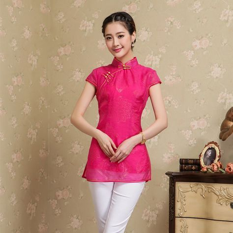 Charming Modern Summer Cheongsam Shirt--I have the perfect jeans for the outfit!