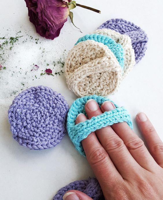 Free Knitting Pattern para Scrubbies Facial - Menos de 10 metros de fio de algodão c ...