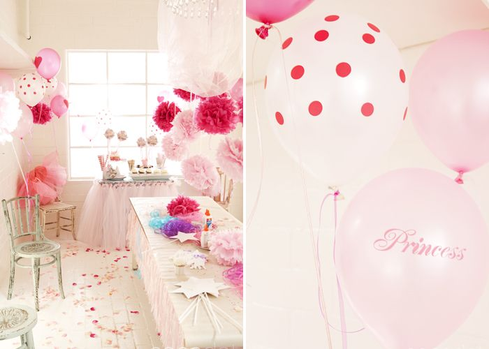 Princess party.I simply adore the polka dot balloons and tulle tableskirt.