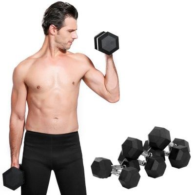 Just US$24.38, buy Environmental Rubber Coating Hexagonal Dumbbell online shopping at GearBest.com Mobile.