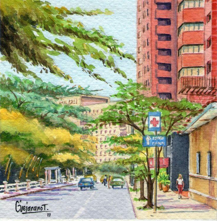 Avenida del Río - Serie Cali Bella. Acuarela ~ Gerardo Vejarano T.