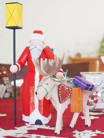 Adornare Originals - Santa and Large Elk Figurine