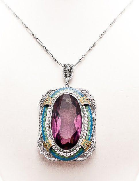 Art Deco Enamel and Amethyst Pendant #jewellery #necklace #pendant