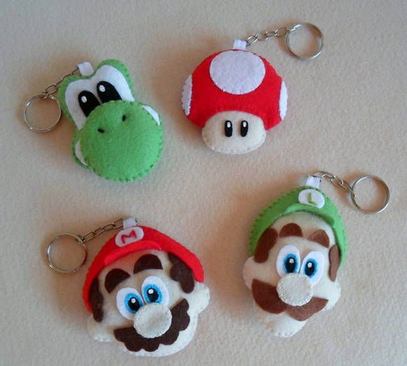 Felt Super Mario Brothers character key chains - could also be clay/fondant inspiration.