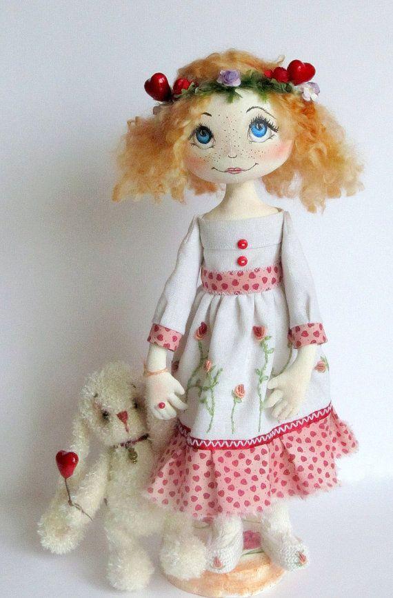 Textile Art Cloth doll Little Princess for by ArtDollsByKseniya