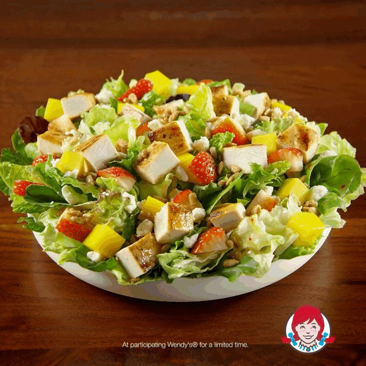 Wendy's new Strawberry Mango Chicken Salad. The perfect salad for people who love salads, and also strawberries and mangoes.