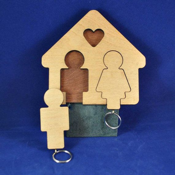 His and Hers Keyrings with house shaped wall mounted holder.
