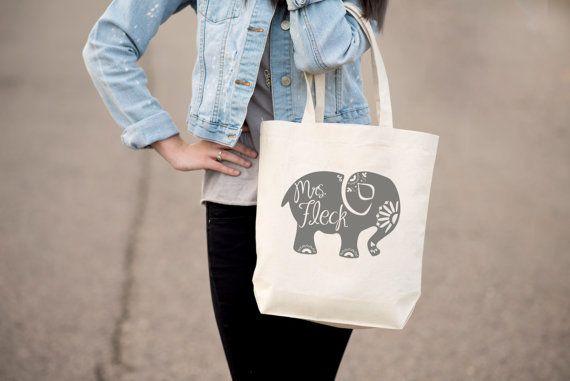 Teacher Gift Tote Bag Elephant Silhouette by OriginaliteeToo