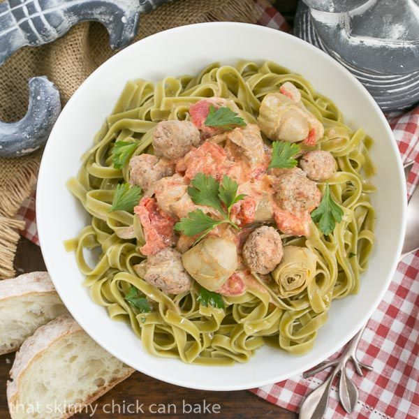 An Italian Holiday Feast - spinach pasta with artichokes and meatballs!