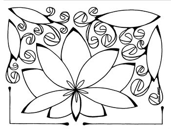 a beautiful simple lotus coloring page miss jenny designs us hand drawn jenny lyman jenny horton