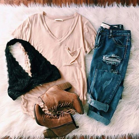   Oatmeal Color V Neck Tee   Distressed Denim Jeans   Black Lace Bralette   Brown Ankle Booties  