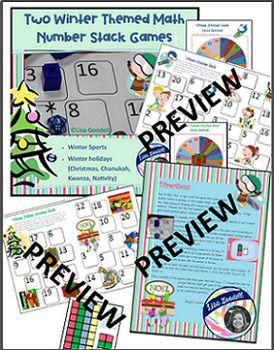 2 Math Stack Games: Winter Sports & Christmas Holidays.  Stacking is better than bumping!!