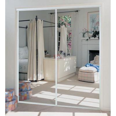 TRUporte 230 Series 72 In. X 80 In. Steel White Mirror Sliding Door