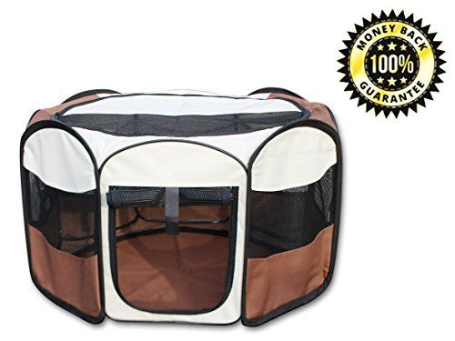 I just bought this and love it. YoYo Moon 28″ Portable Pet Puppy Dog Playpen Exercise Puppy Pen Kennel 600d Oxford Cloth Doggie Play Pen . you can see what others said about it here http://bridgerguide.com/yoyo-moon-28-portable-pet-puppy-dog-playpen-exercise-puppy-pen-kennel-600d-oxford-cloth-doggie-play-pen/