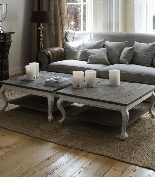 Driftwood French Provincial Side Coffee Table - Reclaimed Elm & Antique White
