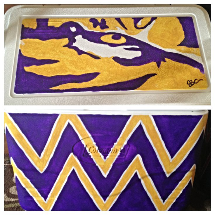 Custom painted LSU cooler, $65 (medium sized) art only, ice chest not provided www.facebook.com/TaintedToms