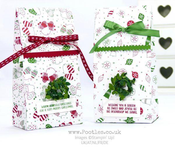 Stampin' Up! Demonstrator Pootles - Christmas in July Big Bag using Be Merry Designer Paper