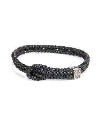 Bottega Veneta Men's Woven Leather Knot Bracelet in Black. Intrecciato woven leather, double cords with slip-knot detail, etched silvertone brass hardware.