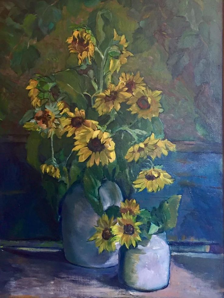 """""""Sunflowers in moonlight"""" floral still-life by August James Weber painted in oil on canvas."""