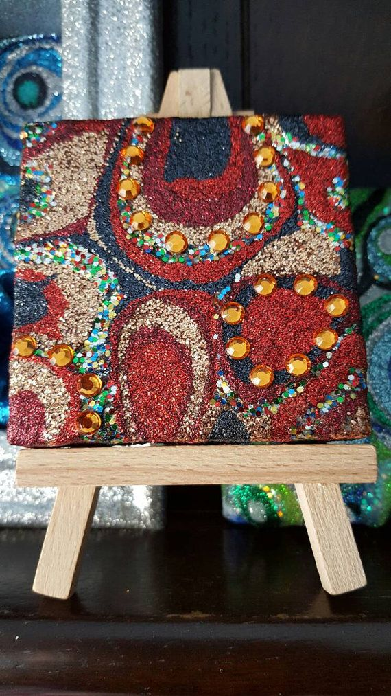 Navy Blue Gold and Red Glitter Canvas Art Original Abstract