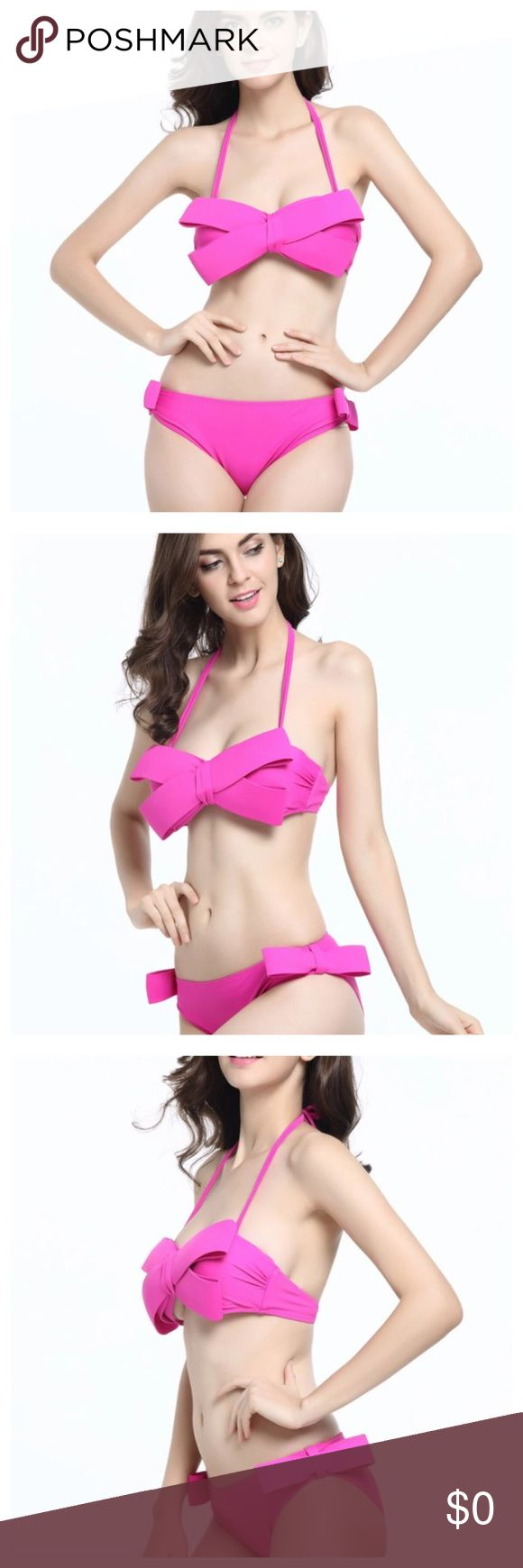Big Bow Push Up Halter Bikini In Pink or Black Big Bow Push Up Bikini --- Underwire top --- Pockets for removable pads --- Removable halter straps --- Please refer to the size guide. In general, for women, you will need to size down one size. Juniors can take their normal size --- In the last picture, a medium is modeled in red (red color available soon) --- Please feel free to ask any questions --- 🦋🦋🦋 Boutique Swim Bikinis