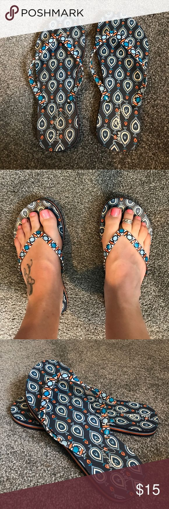 Vera Bradley flip-flops Blue, orange and white flip-flops size 7-8. Barely worn, Great condition. Super cute!! Vera Bradley Shoes Sandals