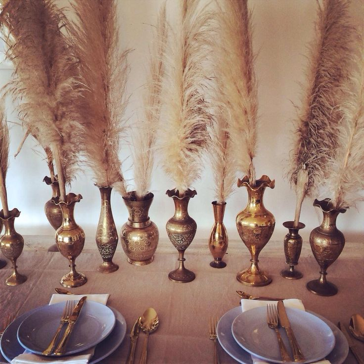 Brass Vase Mixed Sizes - perfect for table centrepieces for your wedding. Shipping to all areas of NZ. Local pick up available in Raglan, Waikato, New Zealand.