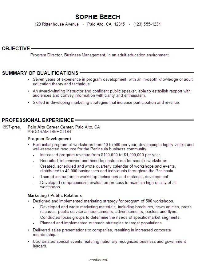 sample resume for program director  business management in