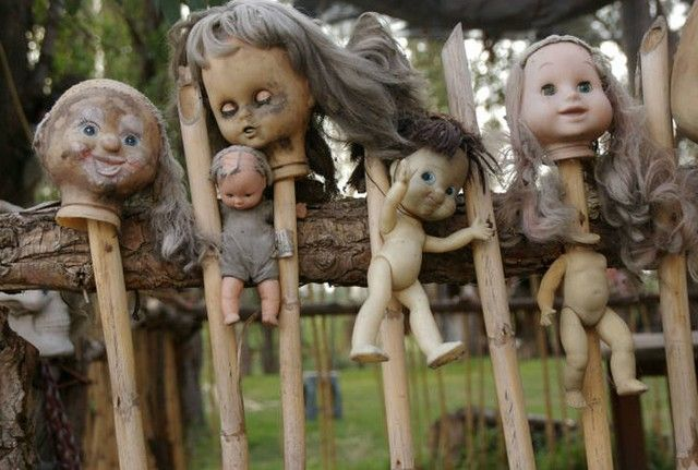 Island of the Dolls (Isla de las Munecas) | as island covered with deteriorating dolls as a memorial to a drowned girl.