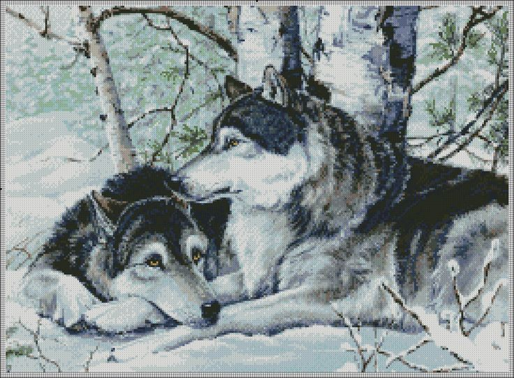 Several great wolves cross stitch patterns