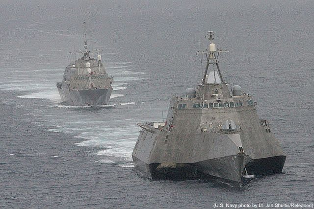 USS Independence (LCS 2) of the General Dynamics Independence Class (front right) and USS Freedom (LCS 1) of the Lockheed Martin Freedom Class littoral combat ships. - Image - Naval Technology