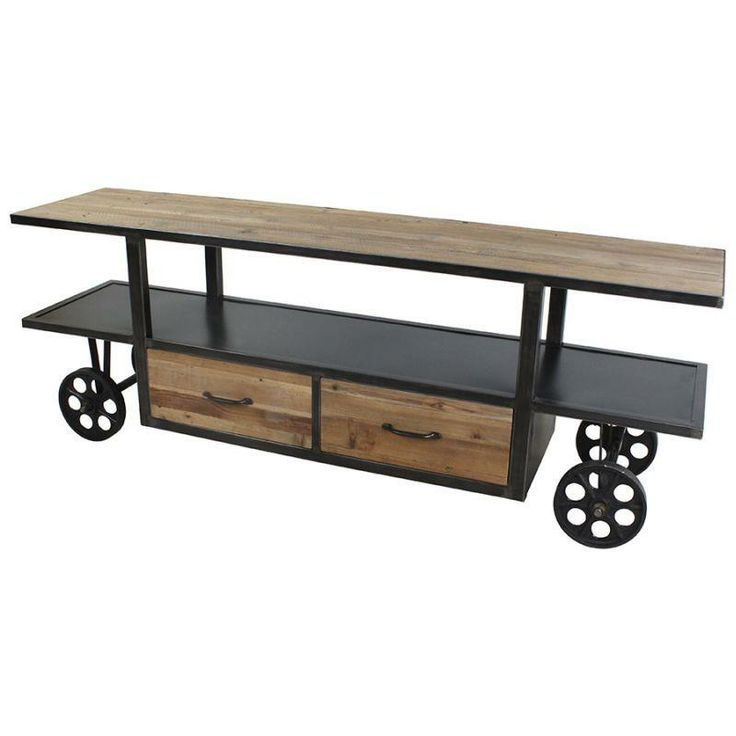 TV stand wooden/metal with drawers