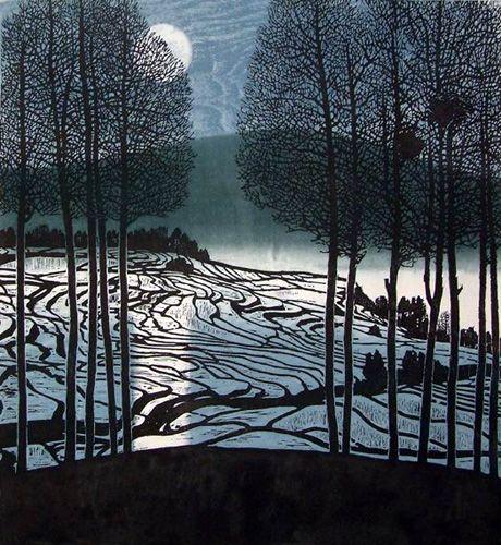 """""""Winter Moon, a woodcut by Chinese artist, Shi Yi"""""""
