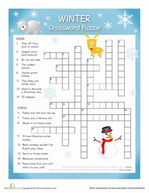 Winter The Holiday Season Fifth Grade Puzzles & Sudoku Vocabulary Worksheets: Winter Crossword