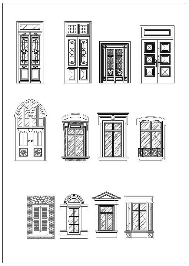 Ornamental Door Window Bundle Door And Window Design Windows