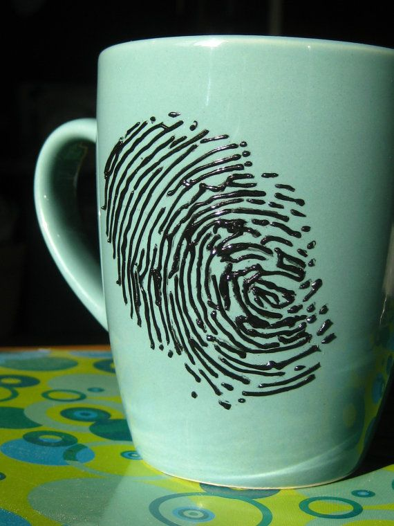 Scene of the CrimeHand Painted Fingerprint Mug by itchyeyedesigns, $20.00