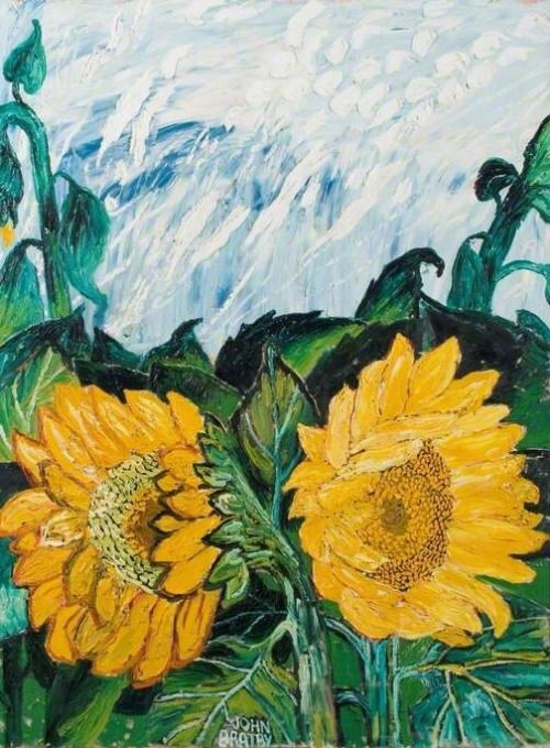 Sunflowers and Sun-Crossed Sky in Summer John Bratby, 1968